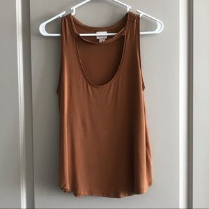 Cotton Tank Top with Choker Detail